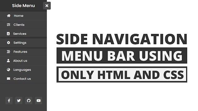 Animated Sidebar Menu using only HTML & CSS