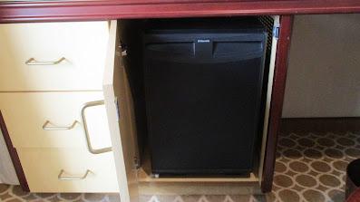 Handicapped accessible balcony cabin refrigerator on Princess Cruises Royal Princess cruise ship