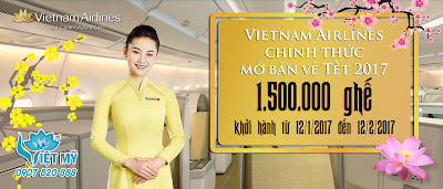 Vietnam Airlines mở bán 1,5 triệu vé máy bay Tết Đinh Dậu 2017