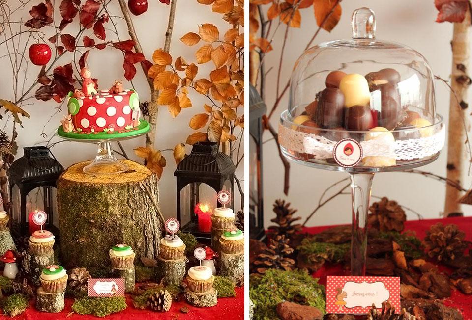Cupcakes et grand gâteau automne