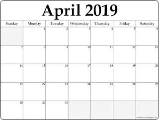 Free Printable Calendar April 2019