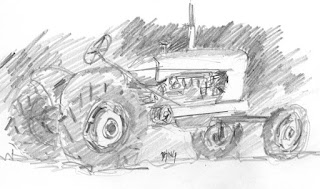 art sketch pencil graphite tractor Allis Chalmers vintage