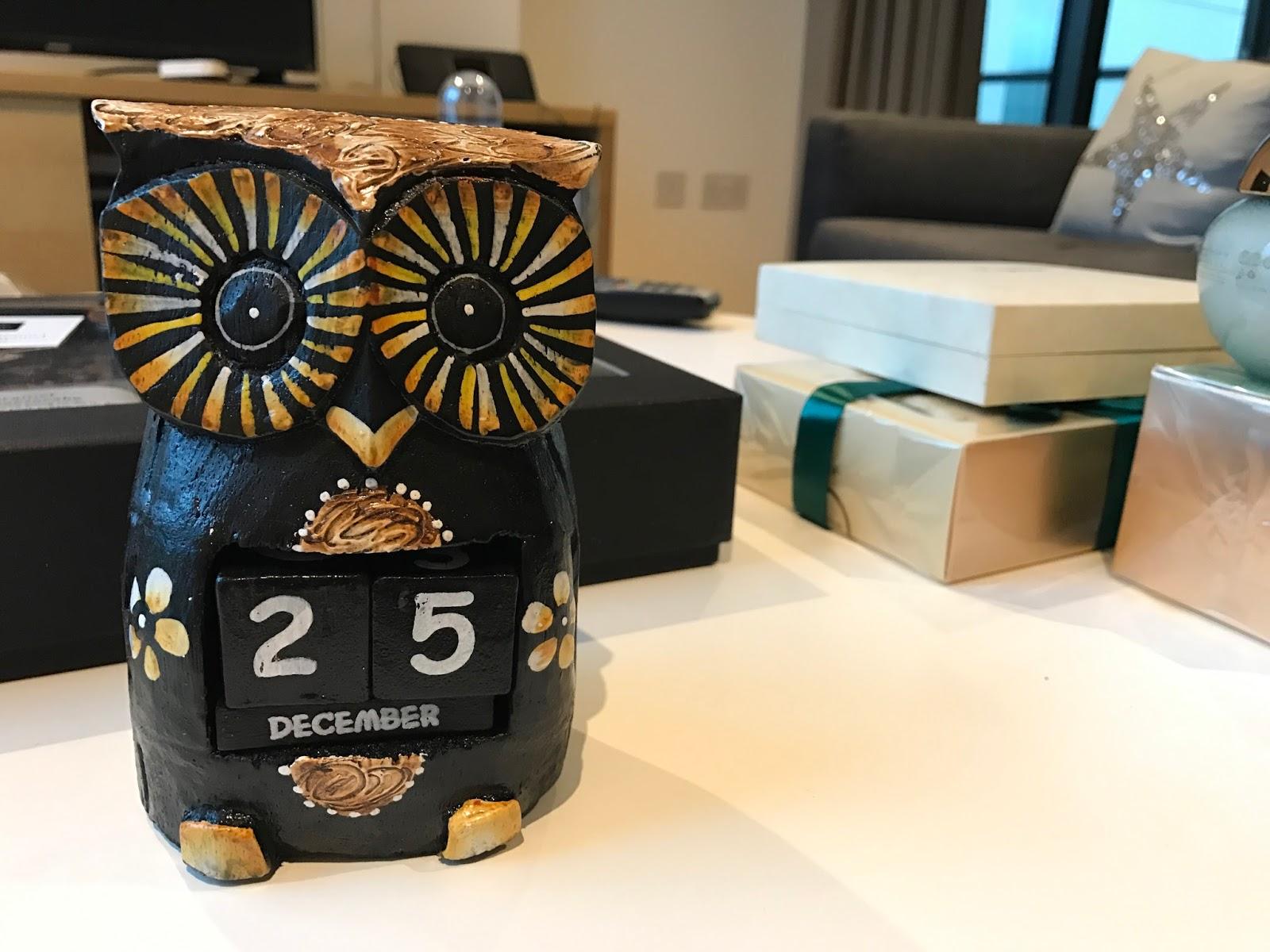 Handcrafted wooden owl calendar