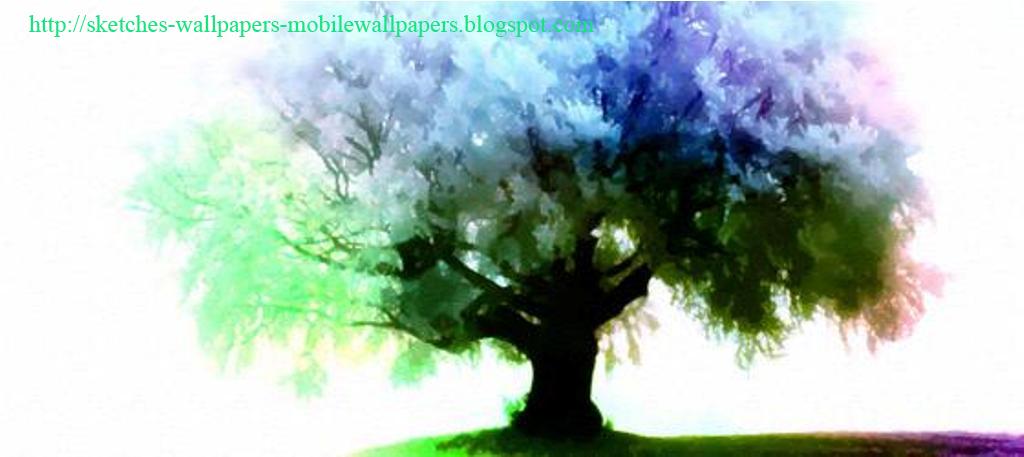 Season tree colour pencil sketches wallpapers