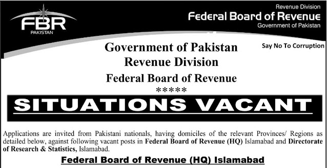 Federal Board Of Revenue FBR Revenue Division Jobs 2021