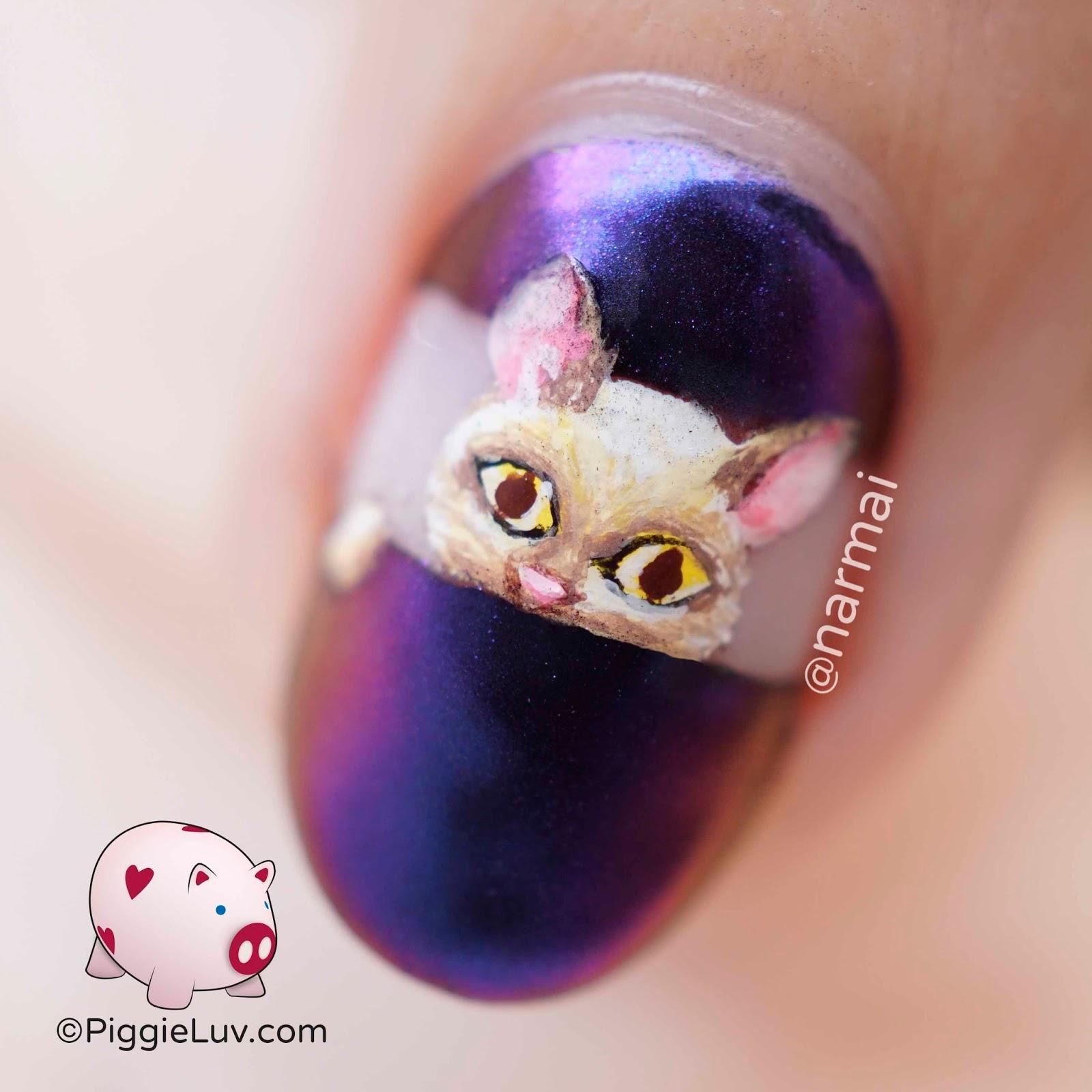 PiggieLuv: Peekaboo cats nail art