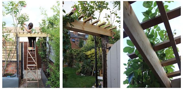 DIY trellis over garden gate