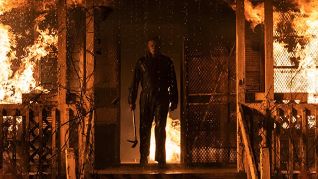 michael myers in flames