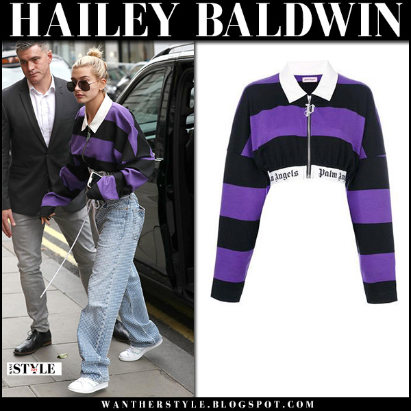 Hailey Baldwin in purple striped zip jacket palm angels and jeans september 18 2017 london fashion week