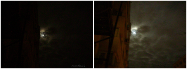 Because of some scattered clouds...The result: a blurred face of the moon in a cloudy photographic view on the night sky... 🌝☔☁