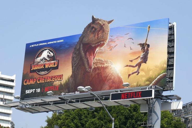 Jurassic World Camp Cretaceous zipline billboard