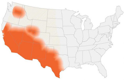 Map of US where Valley Fever can be found