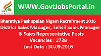 Bharatiya Pashupalan Nigam Recruitment 2016 for 2728 Various Posts Apply Online Here