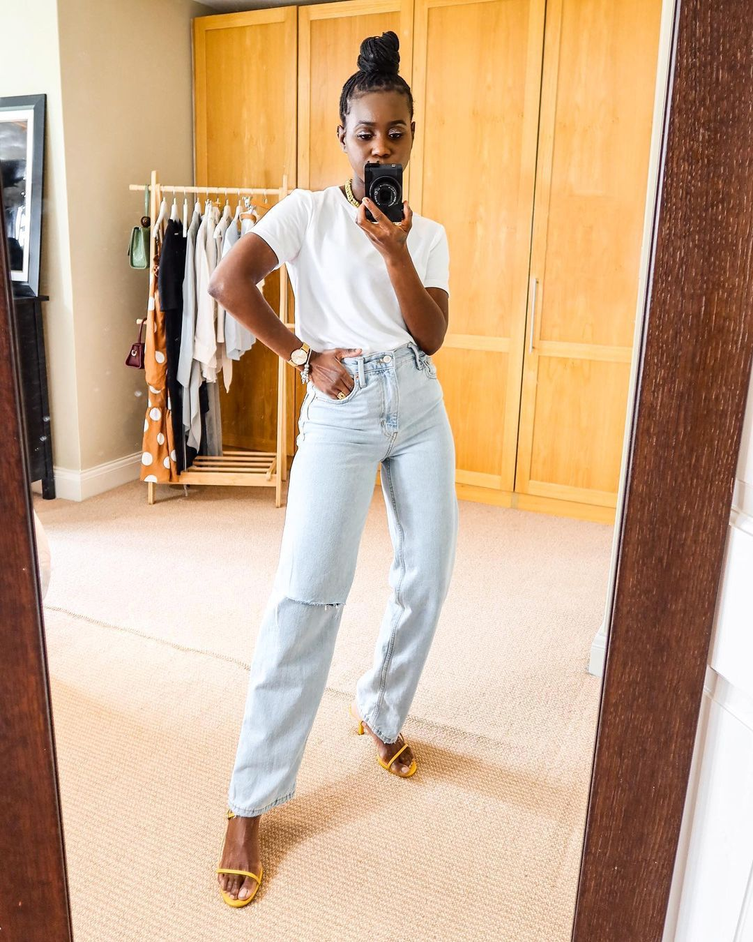 How to Elevate a White T-shirt and Jeans —Nash Wynter summer outfit idea with tee, jeans, and strappy sandals