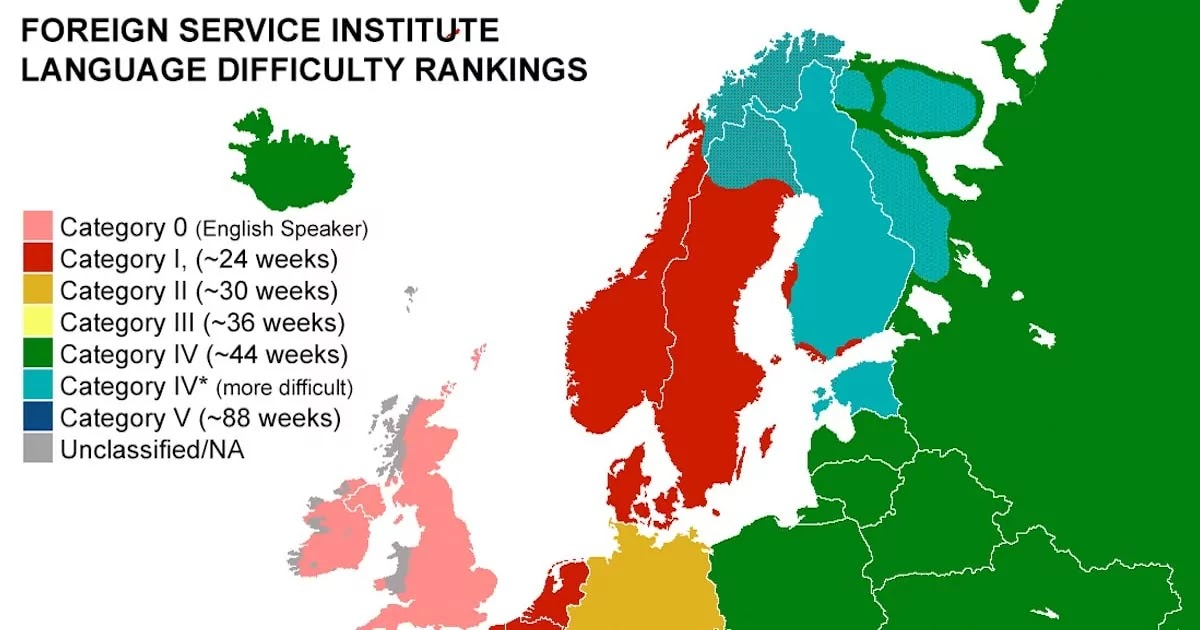 This Map Reveals How Long It Takes English Speakers To Learn Each European Language