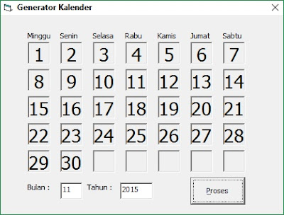 Membuat Generator Kalender Memakai Visual Basic 6.0