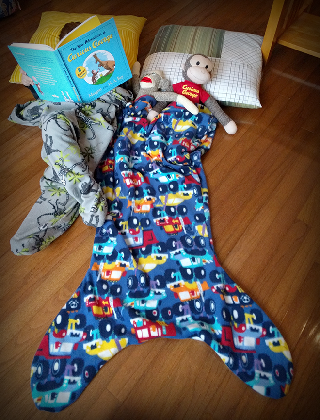 In a couple of hours, you could sew a mermaid blanket for kids from start to finish.
