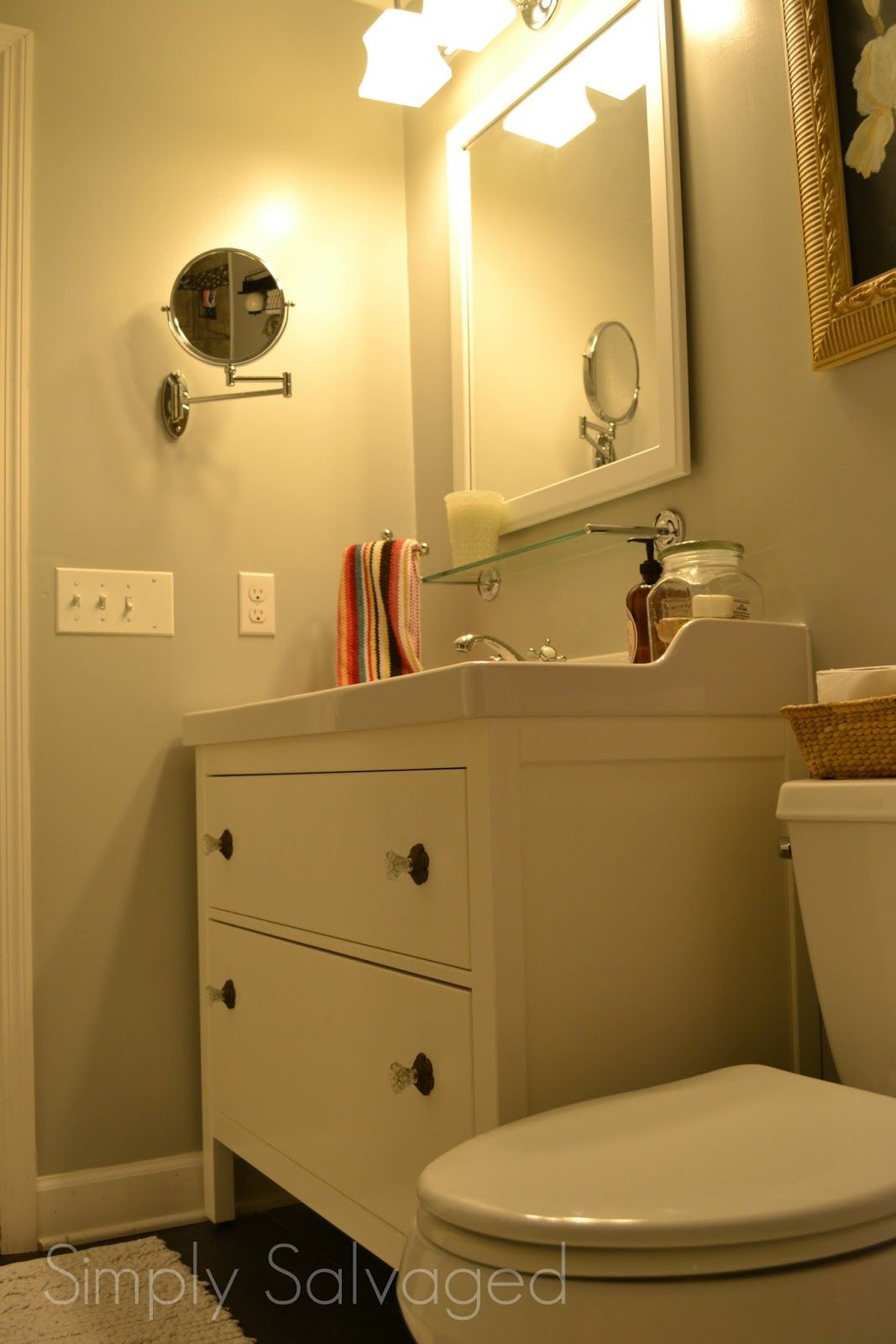 Simply salvaged grey and white bathroom reno for Simply bathrooms