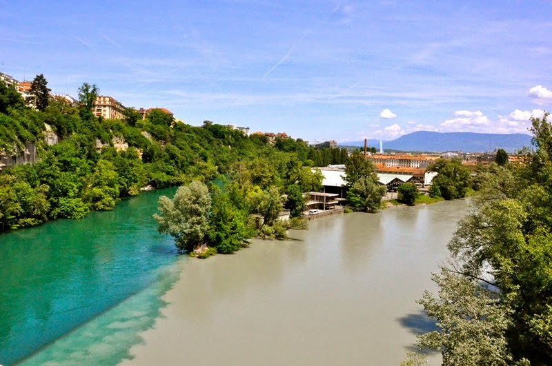Rhone and Arve merge in Geneva