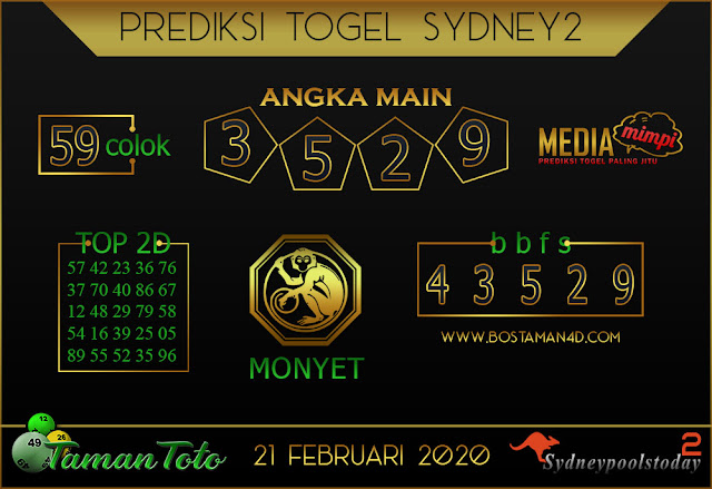 Prediksi Togel SYDNEY 2 TAMAN TOTO 20 FEBRUARY 2020
