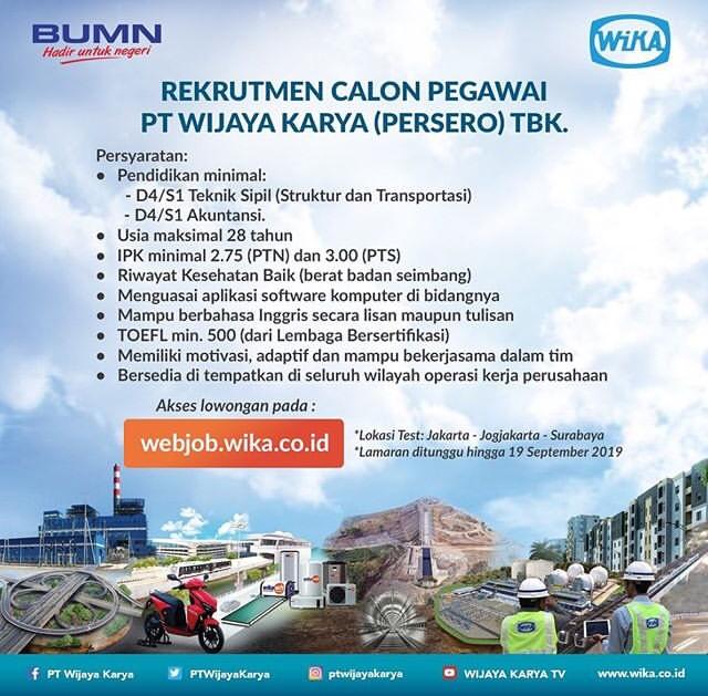 Rekrutmen Calon Pegawai PT Wijaya Karya (Persero) Tbk.
