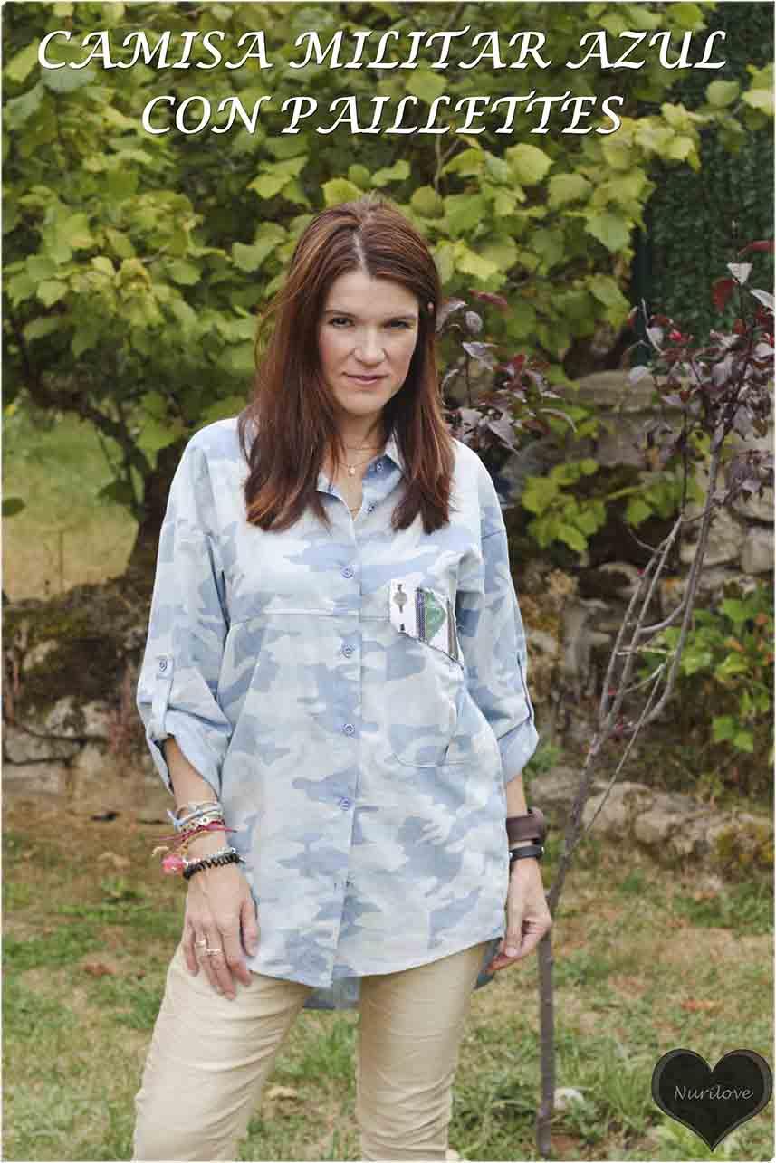 camisa con print militar, en azules con paillettes, un print con un toque diferente