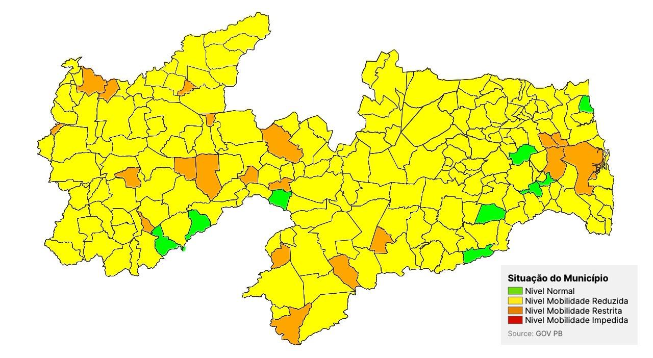 PB não tem cidades em bandeira vermelha, mas taxa de transmissão é alta