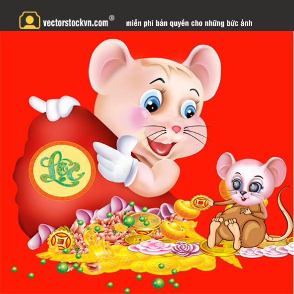 vector chuột cầm túi vàng