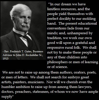 Image result for john d rockefeller quotes about the education system
