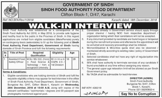 Jobs in Sindh Food Authority 2018