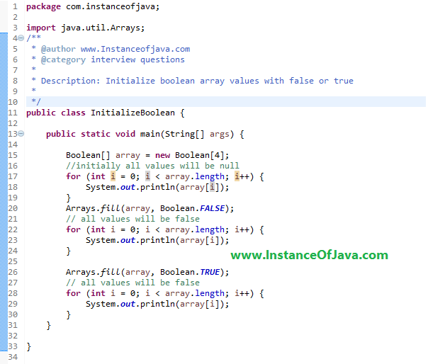 java initialize boolean array with true
