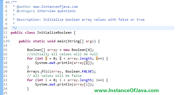 Initializing a boolean array in java with an example program