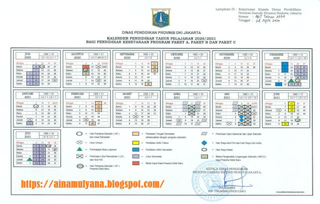 Kalender Pendidikan Tahun Ajaran 2020/2021 Provinsi DKI Jakarta