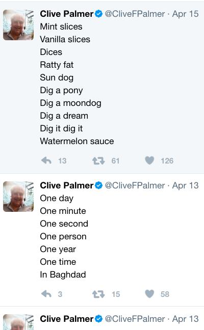 bLOGOS/HA HA: The Clive Palmer Poetry Party presents