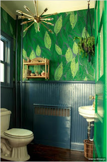 Design bathroom design blue and green wall