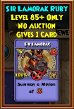 Sir Lamorak - Wizard101 Card-Giving Jewel Guide
