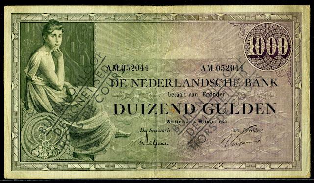 Netherlands Dutch guilder banknotes 1000 Gulden banknote