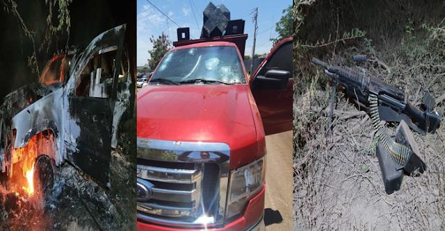 24 Fotografías, que esta pasando en Sinaloa? así fue el saldo de la balacera entre Sicarios en Territorio del CDS  14 vehículos abandonados 1 quemado, armas y al menos 15 heridos