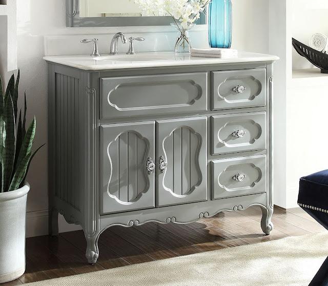 Adelina 42 inch Antique Cottage Bathroom Vanity Grey Finish