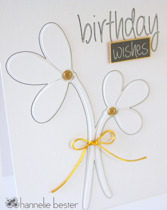 white on white flower card