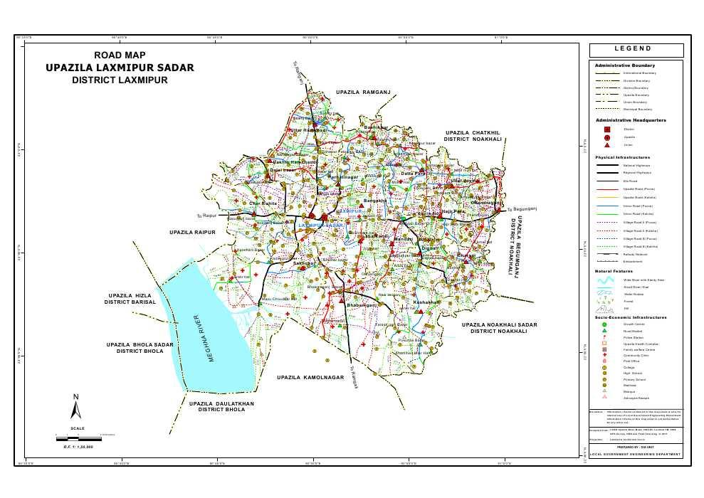 Lakshmipur Sadar Upazila Road Map Lakshmipur District Bangladesh
