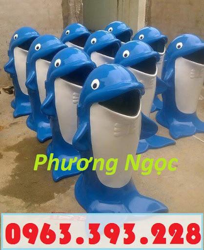 Thùng rác hình con cá heo, thùng rác công cộng, thùng rác cá heo, thùng rác TRCH5