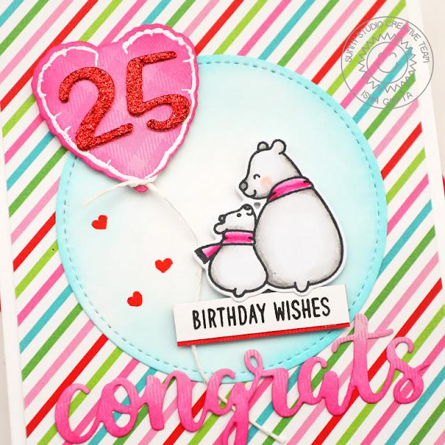 Sunny Studio Stamps: Chloe Number Dies Candy Shoppe Bear Hugs Bold Balloons Birthday Card by Isha Gupta