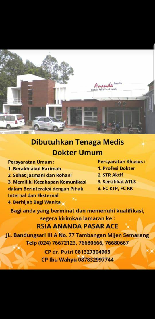 Loker Dokter RSIA Ananda Pasar Ace Semarang, Jawa Tengah