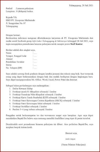 Contoh Application Letter Untuk Staff Kantor (Fresh Graduate) Berdasarkan Informasi Dari Media Sosial