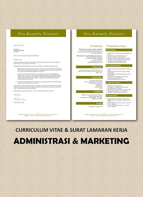 CV & Surat Lamaran Kerja Administrasi, Marketing, Customer Service