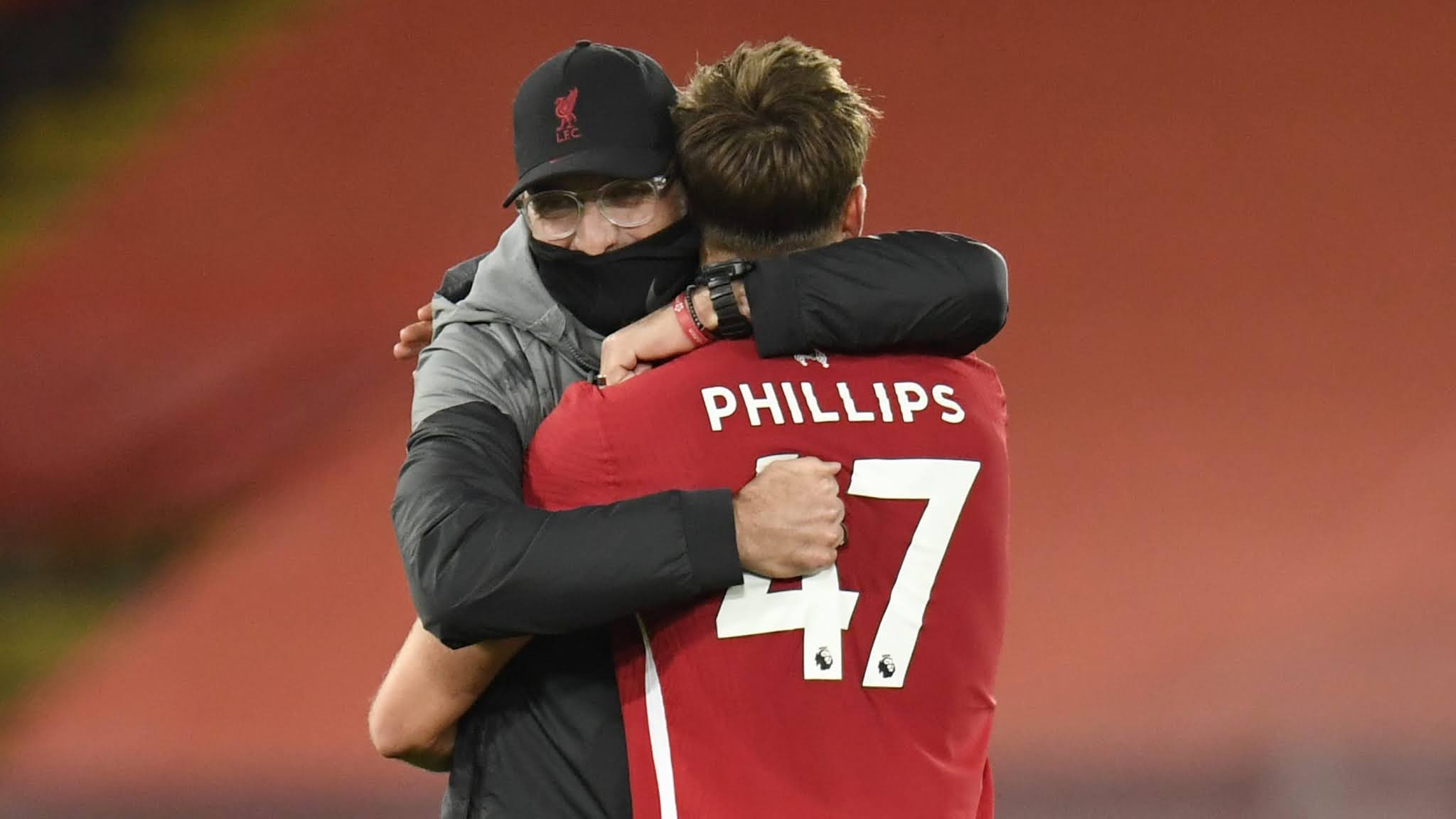 Jurgen Klopp and Nathaniel Phillips against West Ham United.
