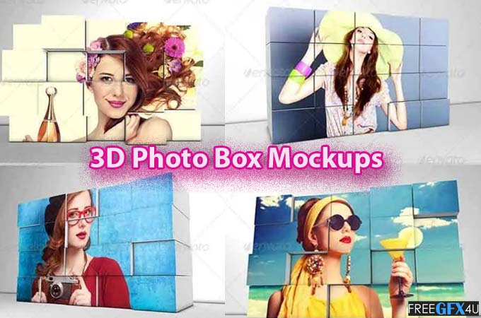 3D Photo Box Mockups Template Collection