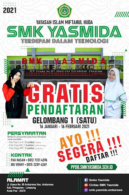 Desain Banner Jalan PPDB SMK Yasmida Ambarawa 2021