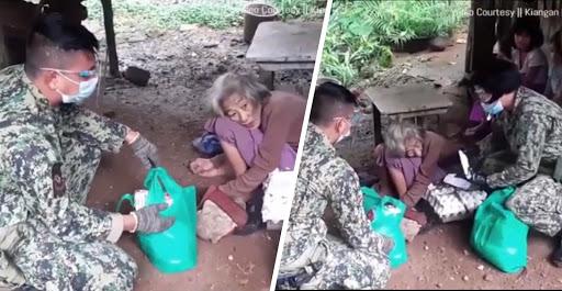 Pulis Ifugao, kinupkop ang 90yrs old na Lolang mag-isa sa buhay at walang makakain